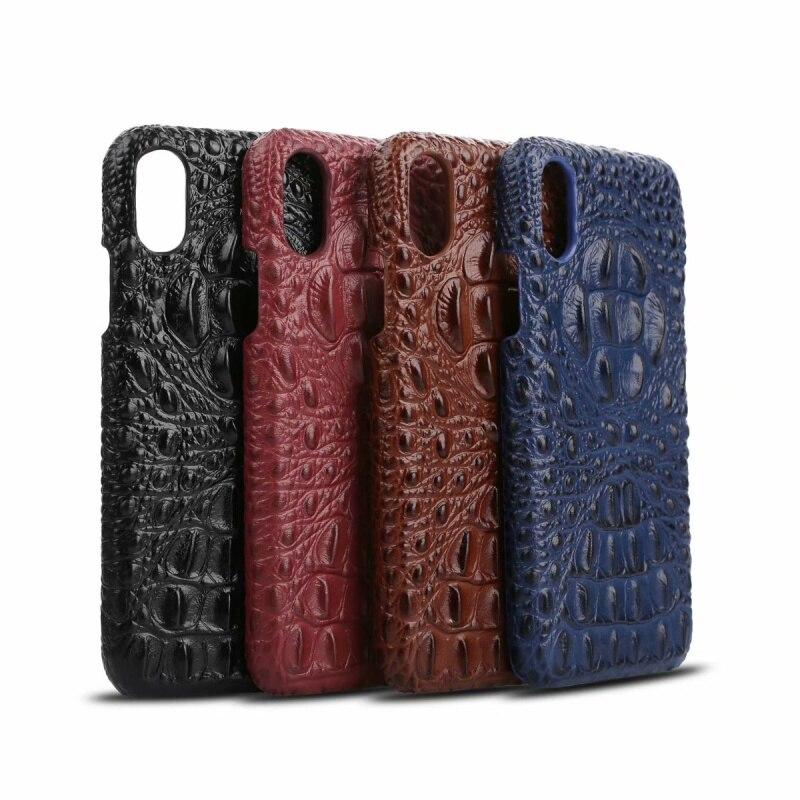 CKHB Funda de cuero Real para iPhone 6 iPhone 6 s 7/8 X teléfono móvil Deluxe 3D cocodrilo patrón Retro de corte Slim caso