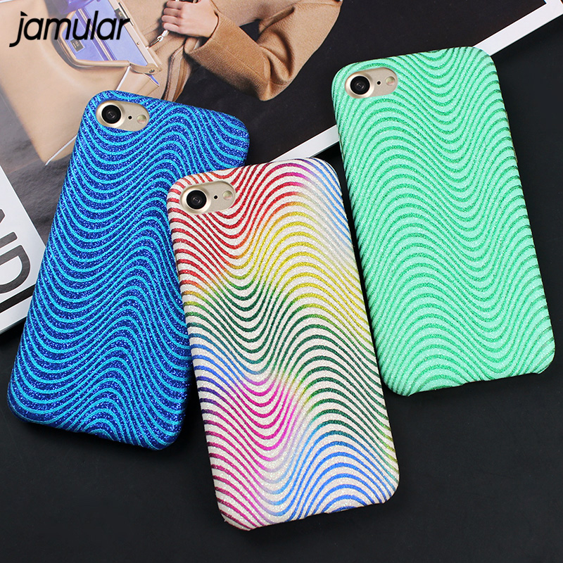 JAMULAR Wave Stripes Bling Glitter Phone Case for iphone 8 6s 7 Plus PU Leather Cover For iPhone 7 Plus Case Back Cover Fundas