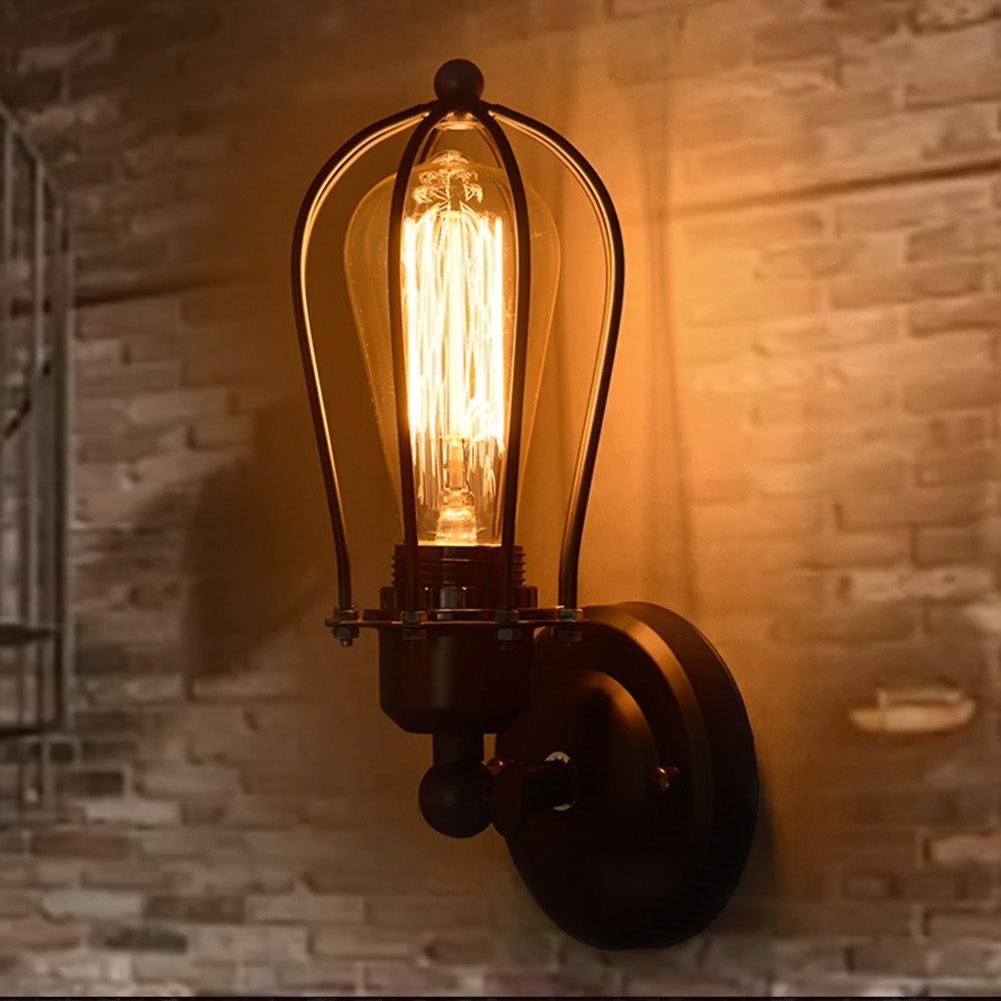 Nordic Retro Wall Lamp Bedside Light Wrought Iron Lamps Shade American Country Style Restaurant Bar Industrial Light sahar cases чехол happines iphone 4 4s