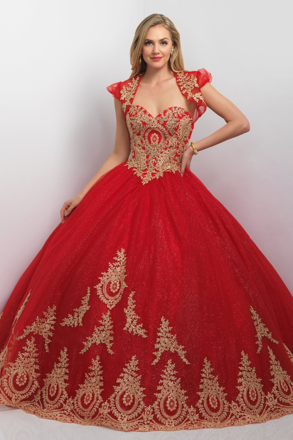 Bridal gowns with color red wedding dress White wedding gown with red roses on the dress