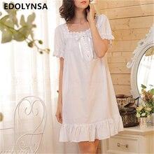2017 бренд сна Lounge Для женщин пижамы хлопок Ночные сорочки Сексуальные Крытый Костюмы Платье домашнее белое рубашки плюс Размеры # P3