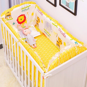 6 stks/sets Baby Beddengoed Set Bumper Katoen Cartoon Crash Comfortabele Pasgeboren Crib Sheet Kussensloop Baby Bed Bumper Beddengoed