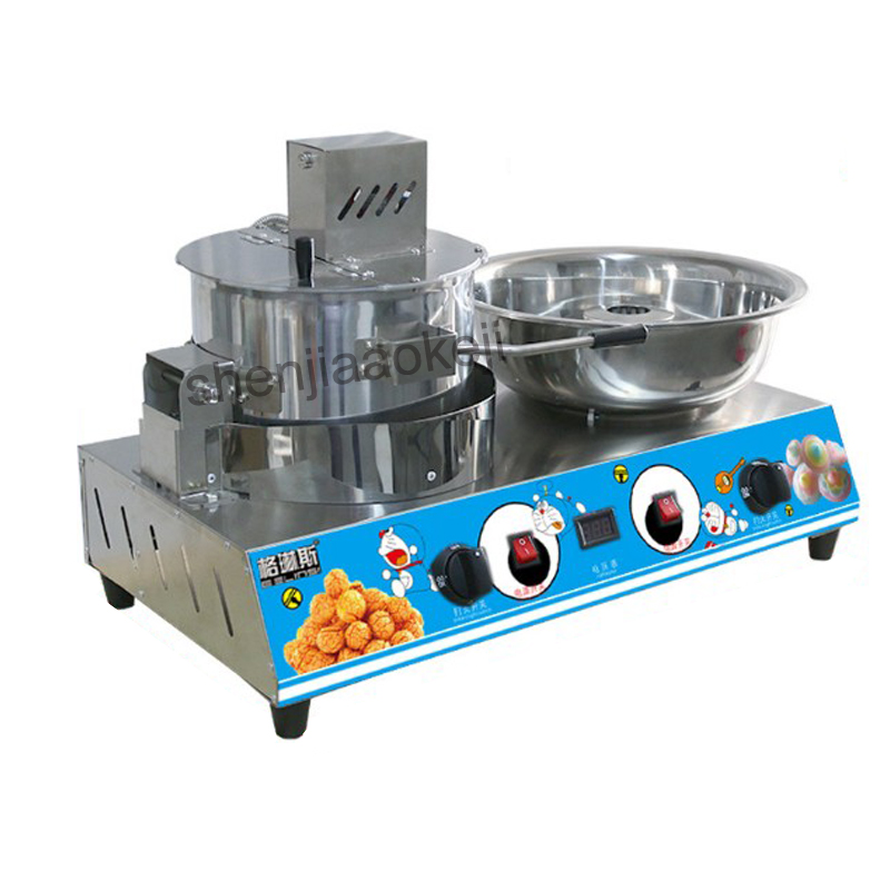 stainless steel Popcorn machine cotton candy machine commercial electric gas mobile popcorn cotton candy Combine machine 1pc pop 08 commercial electric popcorn machine popcorn maker for coffee shop popcorn making machine