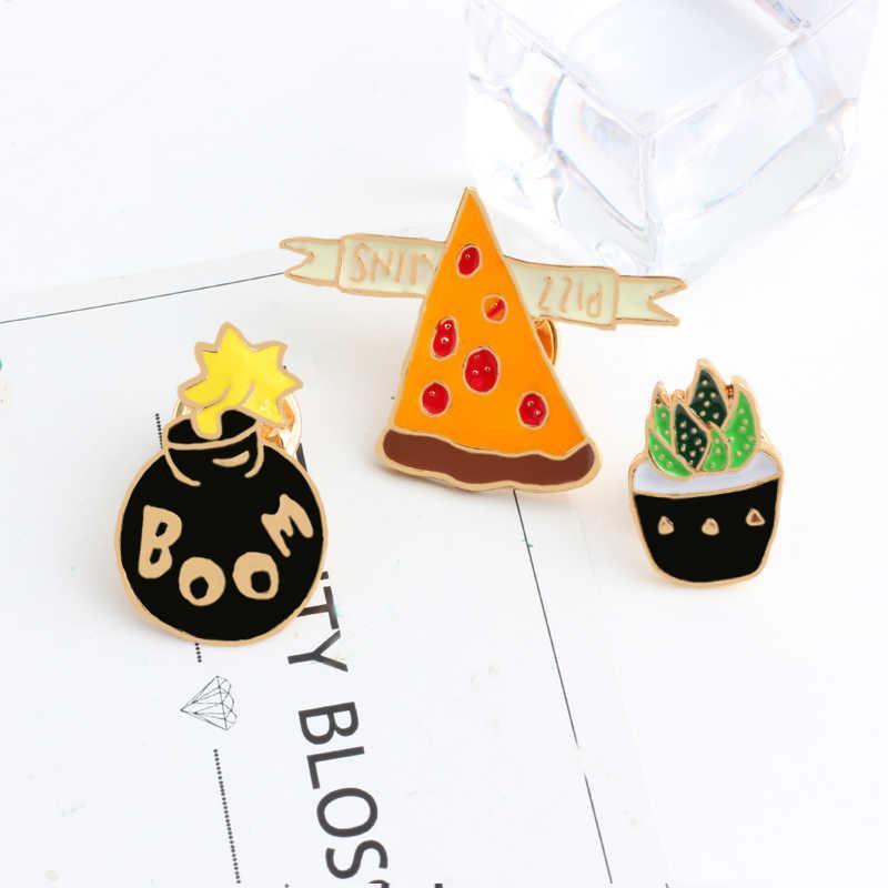 Grappige Zwarte Broche Pizza Kat Zwart Gezicht Cactus Pictogrammen Stijl Knop Badge Vrouwen Mannen Denim Jassen Revers Pin Zak Decoratie sieraden