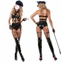 YQ71 4 Parça 2018 Yeni Bayanlar Deri Polisler Fantezi Cadılar Bayramı Kostüm Seksi Polis Kıyafet Kadınlar Seksi Polis Cosplay Kostümleri