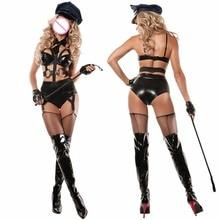 Купить с кэшбэком YQ71 4 Pieces 2017 New Ladies Leather Policewome Fancy Halloween Costume Sexy Police Outfit Women Sexy Police Cosplay Costumes