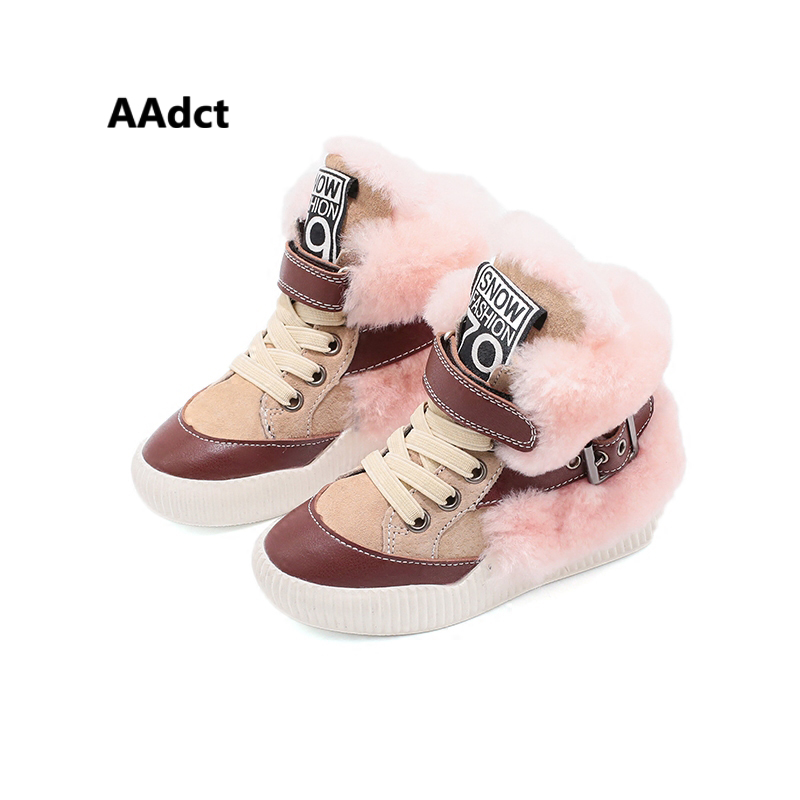 AAdct 2018 winter fashion children shoes high-cut girls shoes running sports kids shoes for boys sneakers Genuine leather cotton new hot sale children shoes pu leather comfortable breathable running shoes kids led luminous sneakers girls white black pink
