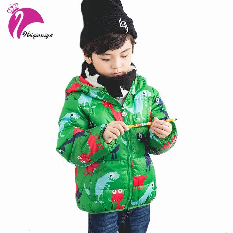 Boy Down Jacket Winter Hooded Cartoon Dinosaur Pattern Down Jacket For Girl Kid Toddler Long Sleeve Windbreaker Outwear Coat Hot casual long sleeve zipper fly cartoon pattern jacket for boy
