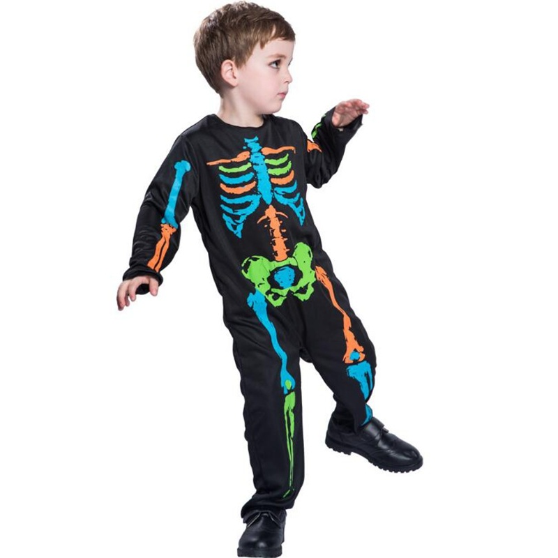 Halloween Colorful Printed Skeleton Body Print Scary Costume Full Sleeve Turtleneck Strech Cosplay Costume Jumpsuit in Girls Costumes from Novelty Special Use