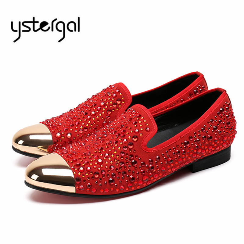 все цены на YSTERGAL Red Rhinestone Mens Casual Flat Shoes Metal Toe Loafers Wedding Dress Shoes Mocassin Homme Flats Creepers Espadrilles онлайн