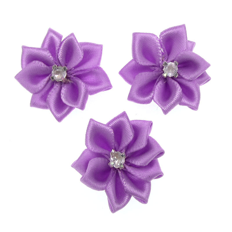 40Pcs Purple Small Satin Flowers Fabric Rhinestone Flowers Appliques Sewing Decoration  Wedding Garment 2.8cm-in Artificial   Dried Flowers from Home ... 6c5f6fd8057a