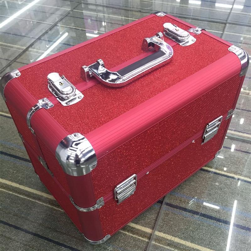 Aluminum alloy 3layer Professional Suitcase Cosmetic Case,Jewelry Makeup Storage Box Wedding Birthday Gift Travel Luggage Bag