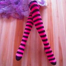 """Хлопковые носки выше колена женские длинные с рисунком """"чулки"""" в полоску зимние теплые цвета 1 пара"""