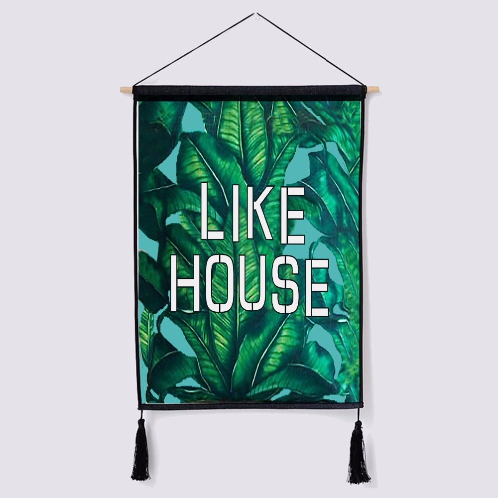 Nordic decorative painting tapestry Wall scroll paintings green plant Background Meter box Cover cloth cotton Hanging picture in Painting Calligraphy from Home Garden