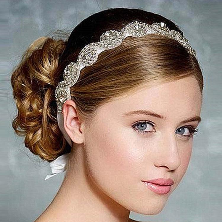 Retail 2017 new rhinestone girl Headband Newborn kids Bling Hair Bows  Bridal hair accessories Girl Headband 1c470767cd5