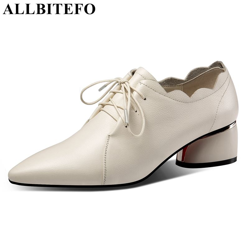 ALLBITEFO brand genuine leather women shoes high heels shoes high quality office formal fashion casual spring ladies shoesALLBITEFO brand genuine leather women shoes high heels shoes high quality office formal fashion casual spring ladies shoes