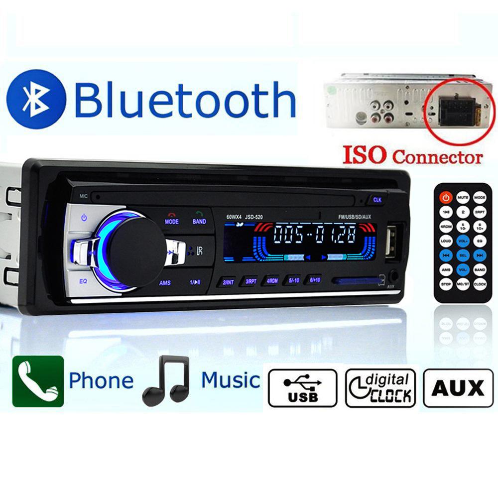 Prix pour Autoradio De Voiture Radio 12 V Bluetooth V2.0 JSD-520 Stéréo Au tableau de bord 1 Din FM Entrée Aux Récepteur SD USB MP3 MMC WMA Voiture Radio lecteur