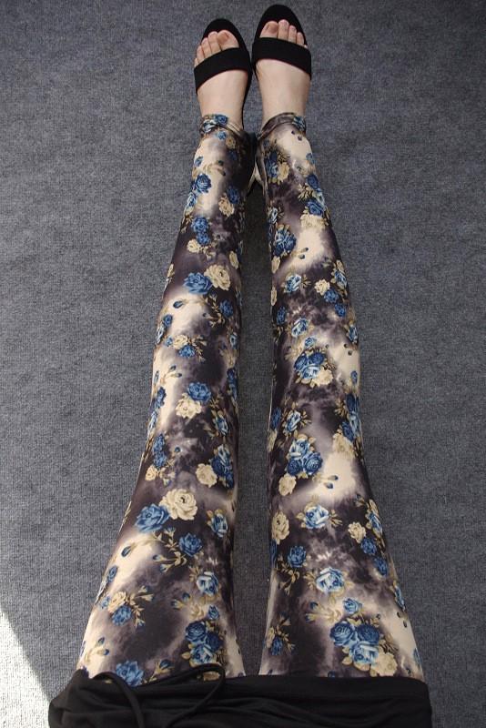 BIVIGAOS Spring Summer Womens Fashion Black Milk Thin Stretch leggings Colored Stars Graffiti Slim Skinny Leggings Pants Female 16