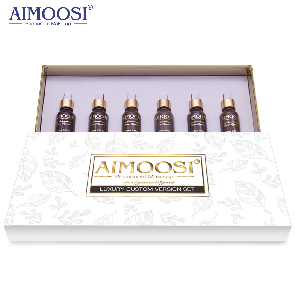 6 bottles set of Aimoosi Eyebrow Luxury Custom Version Set For Easy Coloring in Tattoo Inks from Beauty Health