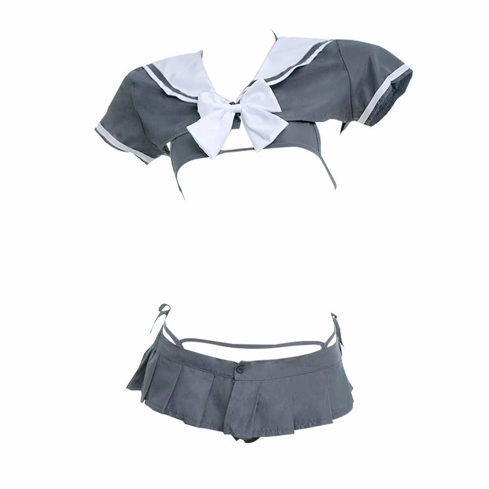 OJBK Japanese Schoolgirl Uniform Sexy Anime Cosplay Bikini Underwear with Mini Shirt Pleated Skirt Grey lingerie Hot girl dress 1