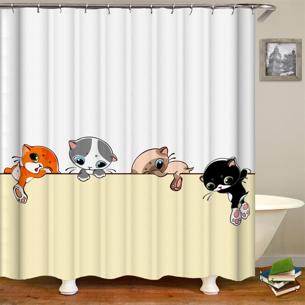 Cute Cat Bowknot Lovely Shower Curtain Waterproof Fabric Bath 12 Hooks Decor