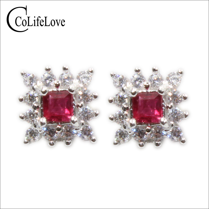 CoLife Jewelry cute ruby stud earrings 2.5 mm square natural ruby silver earrings solid 925 silver ruby stud earrings girl gift 100% real heated ruby drop earrings for wedding 4 mm 5 mm si grade ruby earrings solid 925 silver ruby party jewelry girl gift