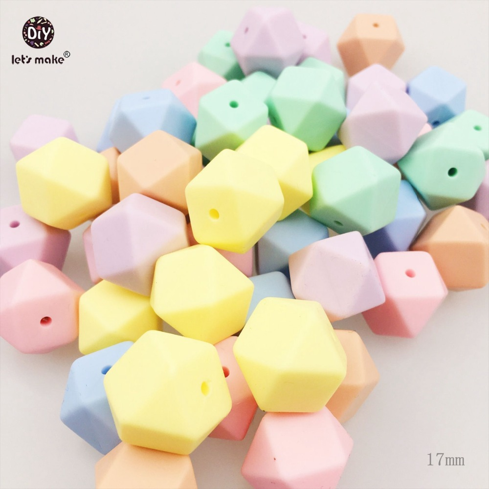Let's Make Silicone Beads Nursing Jewelry 50pc 17mm Kid Chew Beads DIY Necklace Sensory Candy Color Octagonal Beads Baby Teether