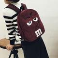 Корейский милый мультфильм harajuku вышивка рюкзак мягкой сестра вельвет M усмешки большие глаза мешок школы подросток забронировать мешок