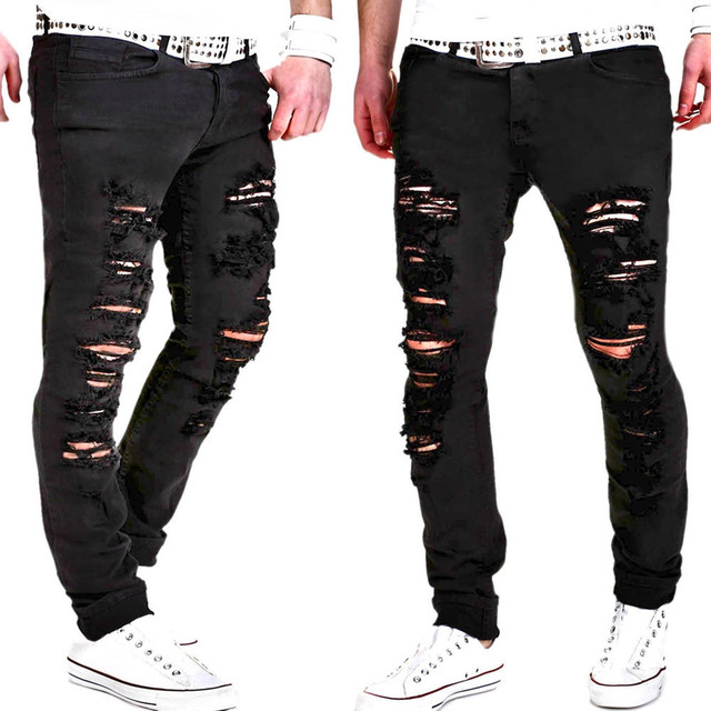 Casual Mens Skinny Stretch Denim Pants Distressed Ripped F