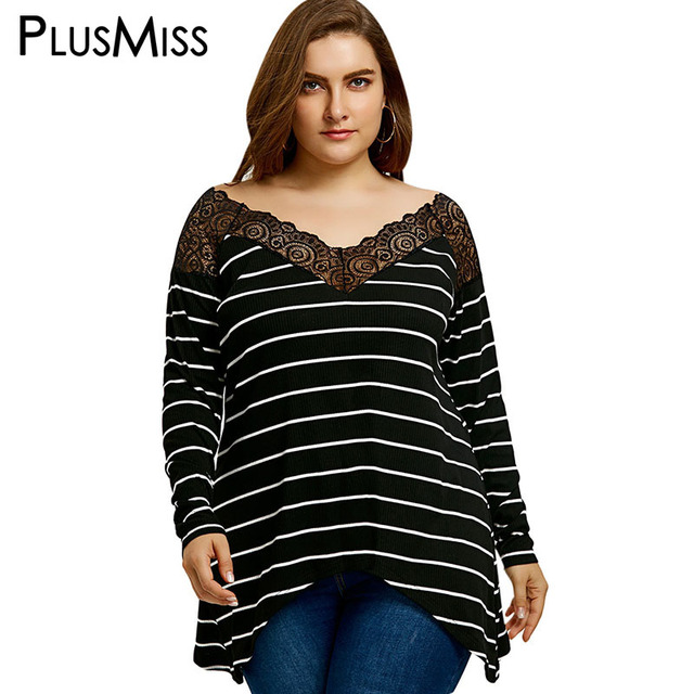 686c1624b14 PlusMiss Plus Size 5XL Sexy Striped Lace Crochet Trimmed Tunci Top Big Size  V Neck Long