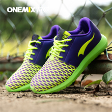 Onemix Men Free Weave Knit Running Shoes 2017 Girls Athletic Lady Sneakers Brand Sport Light Comfortable Outdoor barefoot 36-44