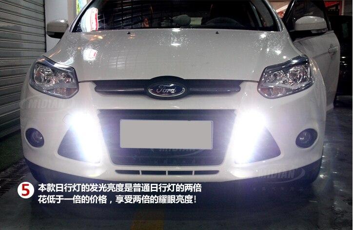 Hot! For Ford Focus 2011 2012 2013 2014 LED light lamp Daytime Running Lights lamps trim 2pcs