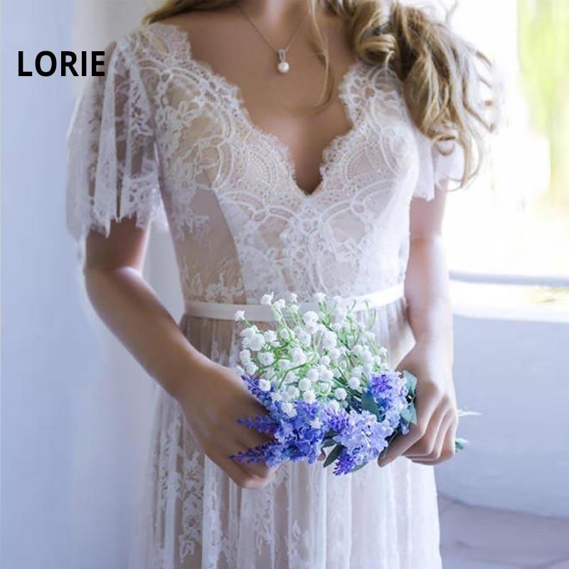 LORIE Champagne Lace Wedding Dresses 2019 Romantic Boho Beach Bridal Dress V-Neck Backless Vestido De Noiva Custom Wedding Gown