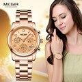 Megir женские часы с хронографом, кварцевые часы для женщин, Лидирующий бренд, роскошные часы из розового золота, наручные часы Relogio Feminino часы ж...