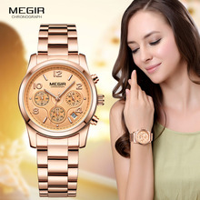 Megir Ladies Watch Chronograph Quartz Watches Women Top Brand Luxury Rose Gold Wristwatch Relogio Feminino часы женские 2057