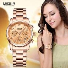 Часы Megir женские кварцевые с хронографом, брендовые Роскошные наручные, цвет розовое золото, 2057