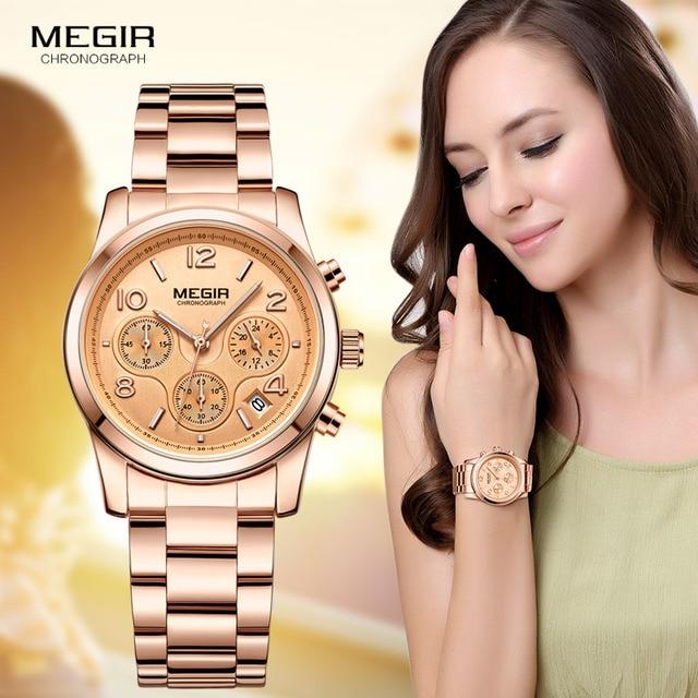 Megir женские кварцевые часы хронограф с золотой Нержавеющаясталь bracelete 24 часа Календари Дисплей наручные часы для дам 2057l