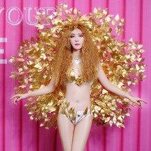 Женские костюмы ведущего танцора для ночного клуба, одежда для выступлений певицы для бара, шоу, подиум, сексуальное бикини с золотыми крыльями, одежда для сцены