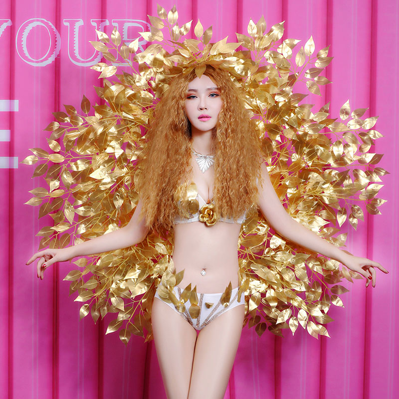 Nightclub Female Leading Dancer Costumes Bar DJ Singer Performance Outfits Model Show Catwalk Sexy Gold Wing Bikini Stage Wears
