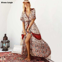 Boho Print Dress 2018 Summer New Beach Party Ethnic Maxi Dress Vintage V Neck Long Sleeve Big Hem Women Floral Printing Dresses
