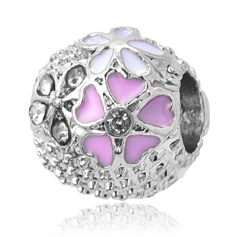 2017 Spring New Europea Silver Mixed Enamels Poetic Blooms Flower Bead Charm Fit Pandora Charm Bracelets Jewelry