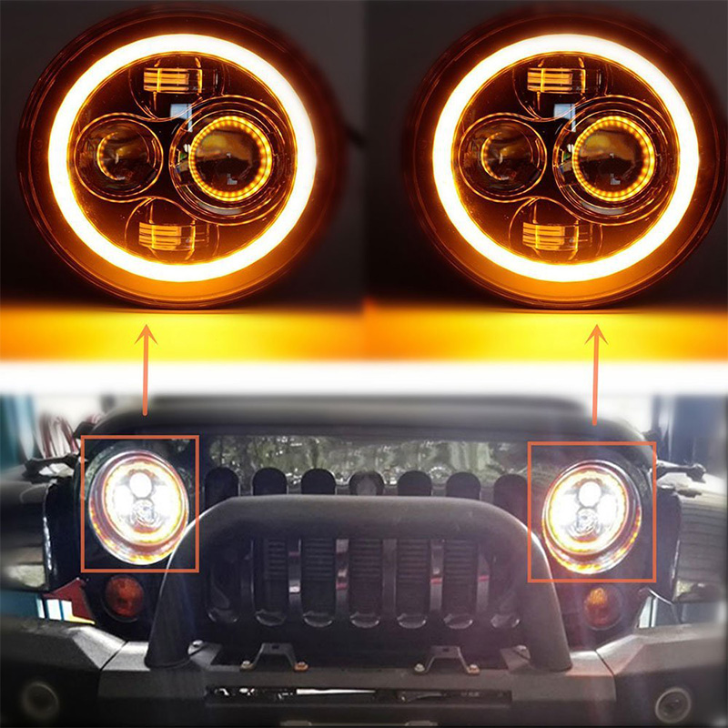 7 INCH Round led headlight Hi/Lo Beam with Halo Ring Angel eyes & DRL & Yellow turn signal lights for Jeep JK Harley Motorcycle