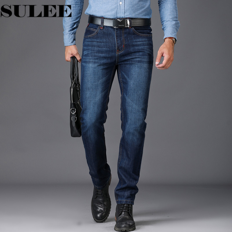 SULEE Marke Europäischen Amerikanischen Stil Stretch Männer Jeans Luxus männer Denim Hosen Dünne Gerade Tiefe blau Gentleman Herren Stretch