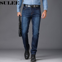 SULEE Brand European American Style Stretch Men Jeans Luxury Men S Denim Trousers Slim Straight Deep