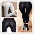 2016 NUEVA Adelgaza Sexy Nylon Leggings para Las Mujeres Ven A Través de brillante Bajo El Sol Sheer Pantalones Elásticos de Las Polainas Más El Tamaño Abierto entrepierna