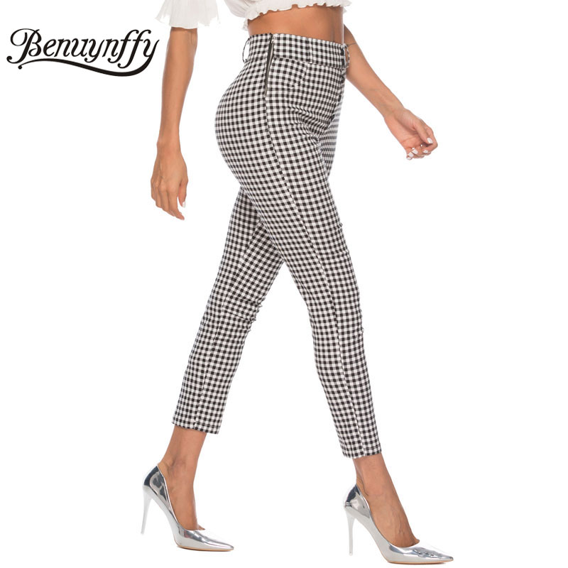 Image 2 - Benuynffy Vintage Button High Waist Plaid Pants Summer Office Lady Workwear Trousers Women Elegant Side Zipper Pencil Pants-in Pants & Capris from Women's Clothing