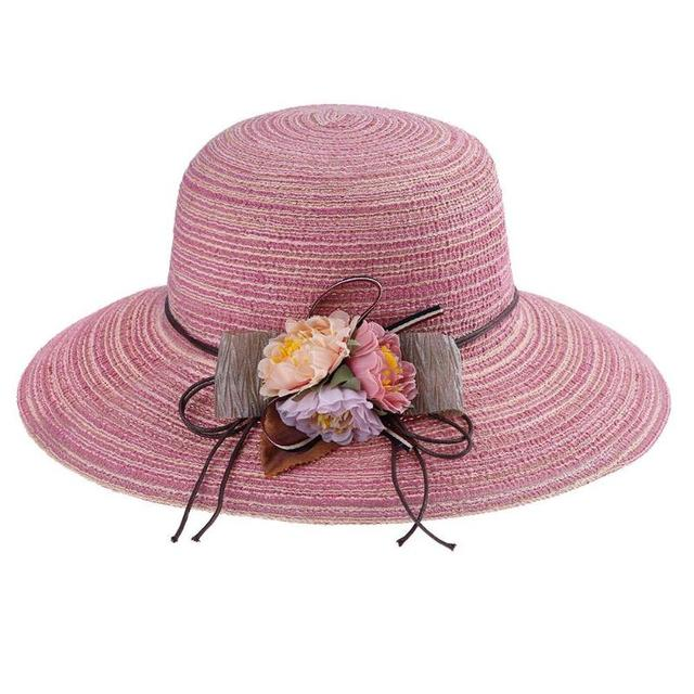 ea30b7a8 Foldable Summer Beach Straw Women Sun Hats Panama Hat Ladies Round Top  Flowers hat Brimmed Portable