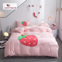 SlowDream Pink Girl Bedding Set Bed Linens Cotton Strawberry Decor Home Flat Sheet Adult Child Double Queen King