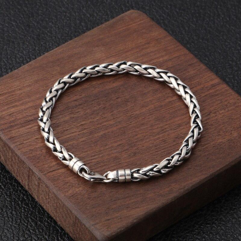 Wholesale S925 Sterling Silver Retro Thai Silver Personality Wrist Chain Jewelry Twist Woven Men's Bracelet Homme
