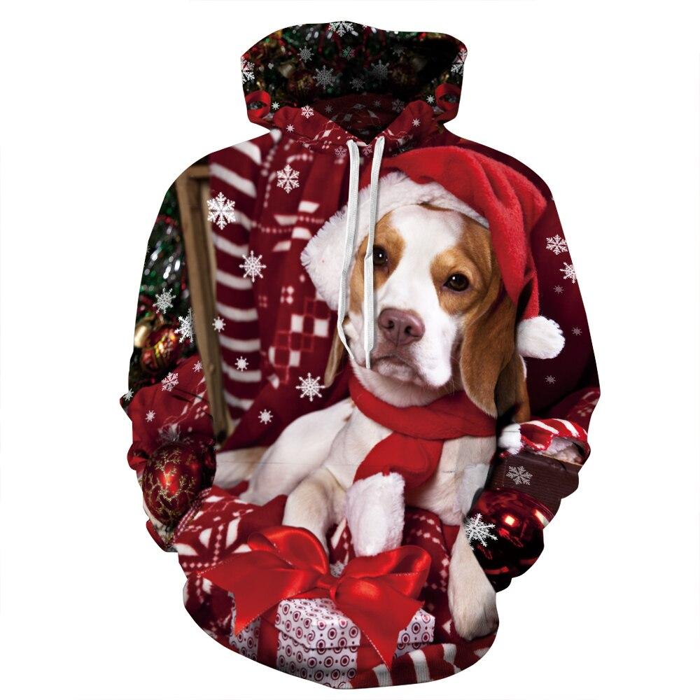 Women <font><b>Dog</b></font> Printed Hoody Christmas <font><b>Sweatshirt</b></font> 2016 Men Autumn <font><b>Hooded</b></font> <font><b>Sweatshirt</b></font> Large Size Animal Hoodies Pullovers Top